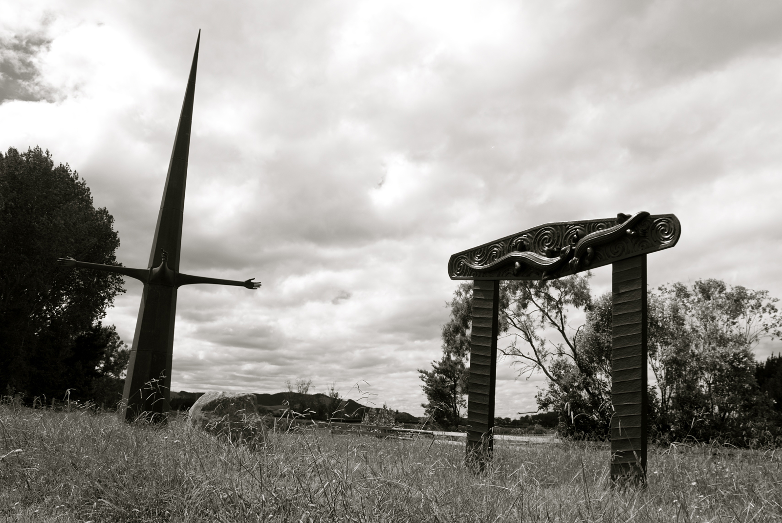 Te Rongopai and Puna Roimata (Ranginui / Sky), sculpture by New Zealand artist Brett Graham