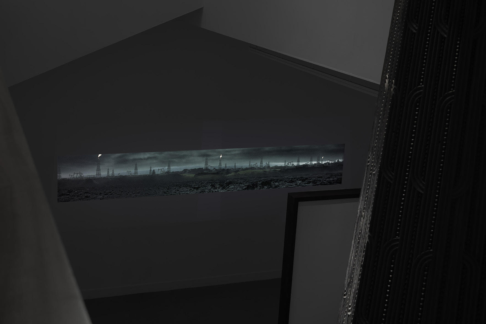 Video projection by New Zealand artist Brett Graham and Animation Research Ltd., at the Tai Moana Tai Tangata exhibition