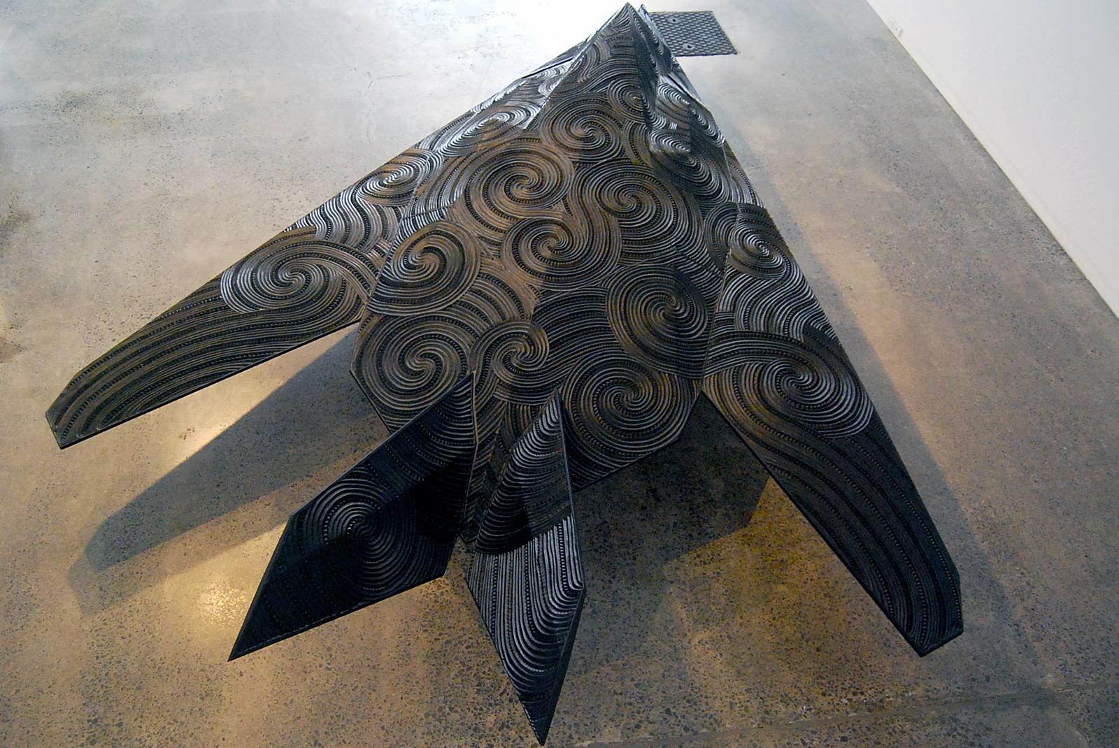 Te Hōkioi (installation view), screenprints/drawings by New Zealand artist Brett Graham